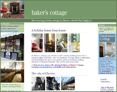 Baker's Cottage web site